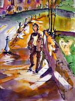 Evening Stroll Watercolor and Ink by Ginette