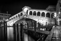VENICE Rialto Bridge At Night Black And White