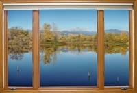 Colorado Waterfront Reflections Wood Window View