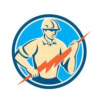 Electrician Holding Lightning Bolt Circle Retro