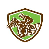 Jockey Horse Racing Shield Retro Woodcut