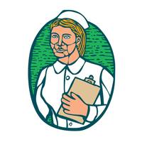 Nurse Holding Clipboard Oval Woodcut Linocut