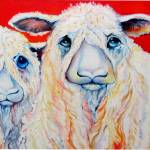 """SWEET WENSLEYDALES SHEEP"" by MBaldwinFineArt2006"