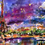 """A Night In Paris Panoramic View of Eiffel Tower"" by GinetteCallaway"