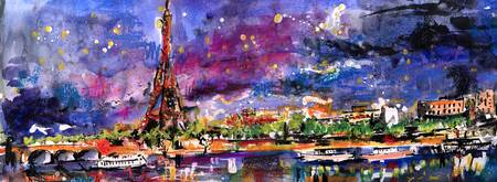 A Night In Paris Panoramic View of Eiffel Tower