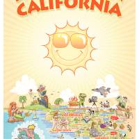 Cartoon Map of Southern California Art Prints & Posters by Dave Stephens