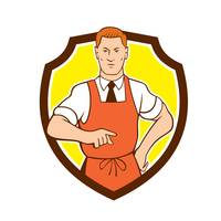 Cook Chef Pointing Shield Cartoon