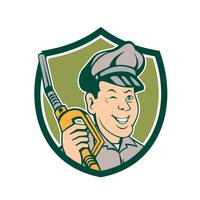 Gas Attendant Nozzle Winking Shield Cartoon