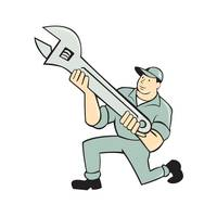 Mechanic Kneeling Holding Spanner Wrench Cartoon