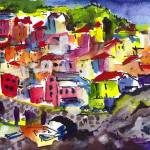 """Manarola Italy Cinque Terre Watercolor"" by GinetteCallaway"