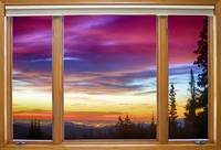 City Lights Sunrise  Classic Wood Window View