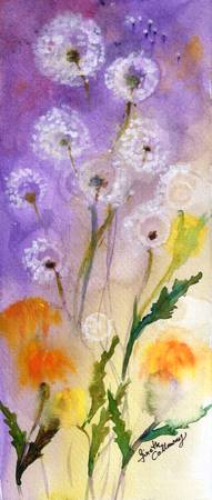 Dandelion Puffs Watercolor