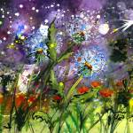 """Midnight Dandelions Watercolor by Ginette"" by GinetteCallaway"