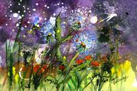 Midnight Dandelions Watercolor by Ginette