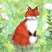 Fox Sitting Art Prints & Posters by Diana Delosh