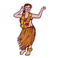 Polynesian Dancer Grass Skirt Linocut