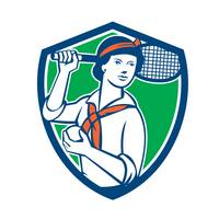 Female Tennis Player Racquet Vintage Shield Retro