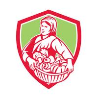 Female Organic Farmer Basket Harvest Shield Retro