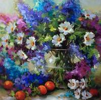 Abundance Delphiniums and Daisies