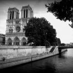 """Notre Dame along the Seine - Black and White"" by Groecar"
