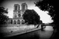 Notre Dame along the Seine - Black and White