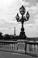 Eiffel Tower with Ornate Lamp - Black and White by Carol Groenen