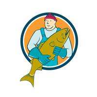 Fishmonger Salmon Fish Circle Cartoon