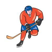 Ice Hockey Player With Stick Cartoon