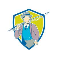 Vintage Fly Fisherman Bowler Hat Shield Cartoon Art Prints & Posters by aloysius patrimonio