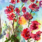 """Rose Mallow Pink Lavatera Watercolor"" by GinetteCallaway"