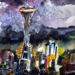 """""""Seattle Space Needle Night Glamour"""" by GinetteCallaway"""