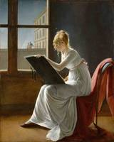 Marie-Denise Villiers, Young Woman Drawing, 1801