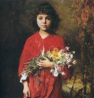 Portrait of a young girl with flowers by Alexei Ha