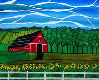 Red Barn acrylic painting,