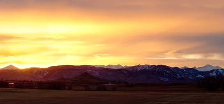 Haystack Rocky Mountain Sunset Panorama
