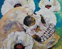 Skull with White Poppies