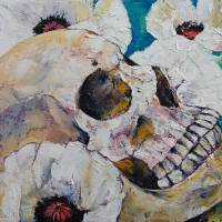 Skull with White Poppies Art Prints & Posters by Michael Creese