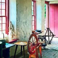 Spinning Wheel Near Window Art Prints & Posters by Susan Savad