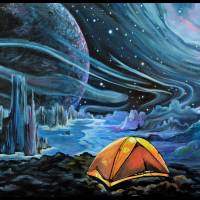 A Perfect Adventure - Camping in Space Art Print Art Prints & Posters by Cheryl Marie