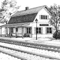 Fairview Ave Train Station Art Prints & Posters by Mary Palmer