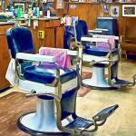 """Two Barber Chairs With Pink Striped Barber Capes"" by susansartgallery"