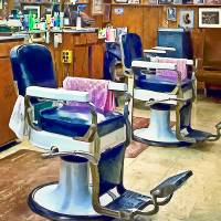 Two Barber Chairs With Pink Striped Barber Capes Art Prints & Posters by Susan Savad