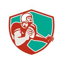 American Football Player Angry Shield Retro