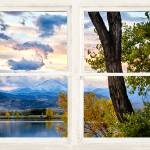"""Colorado Rocky Mountain Lake Autumn White Window"" by lightningman"
