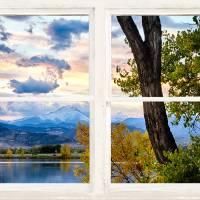 Colorado Rocky Mountain Lake Autumn White Window Art Prints & Posters by James