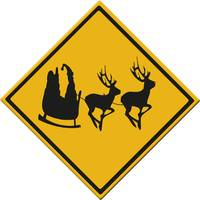 Road sign Santa ahead