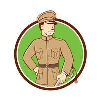 World War One British Officer Circle Cartoon