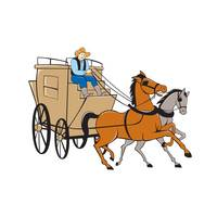Stagecoach Driver Horse Cartoon