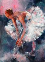 Ballet Dancer in White Dress Tying Shoe Ribbons