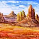 """Southwest Art; Impressionistic Desert"" by Lenora"
